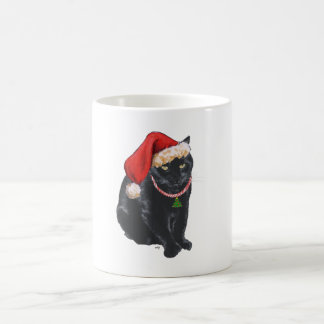 Black Cat in Santa Hat Classic White Coffee Mug
