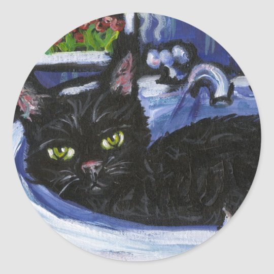 Black cat in sink classic round sticker