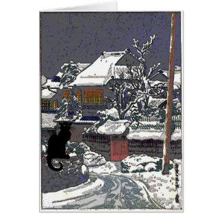 Black Cat in Snow Japanese Print Card