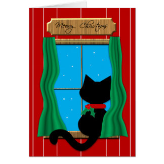 Black Cat  in Snowy Window - Meowy Christmas Card