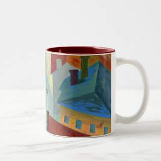 black cat in the city Two-Tone coffee mug