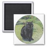 Black Cat in the Garden Refrigerator Magnet