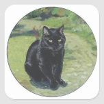 Black Cat in the Garden Square Sticker