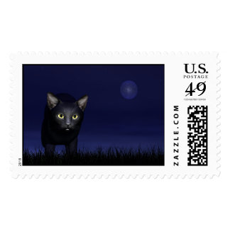 Black cat in the night postage stamp