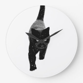 Black Cat in the Snow - Wall Clock