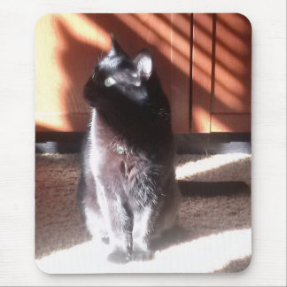 Black Cat in thought Mouse Pad