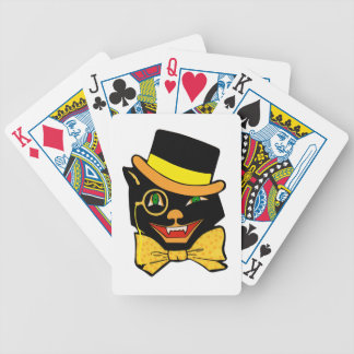 Black Cat in Top Hat Bicycle Playing Cards