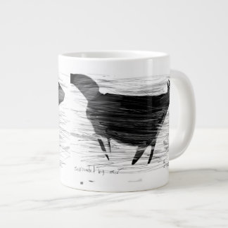 Black cat in wind and air large coffee mug