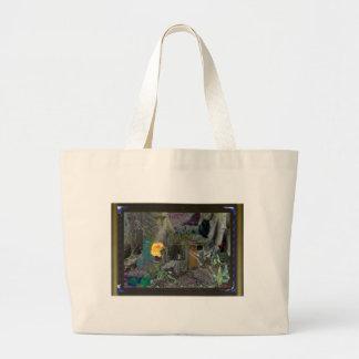 black cat in wood canvas bag