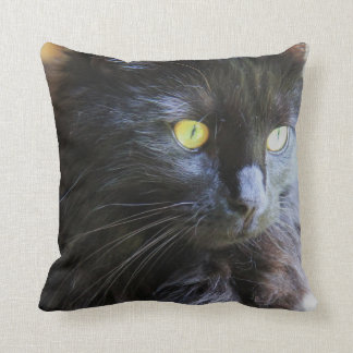 Black Cat in your face! throw pillow