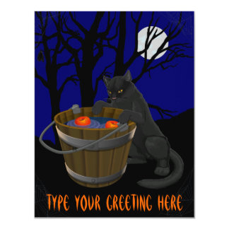 Black Cat Invitations Personalized Halloween Cards