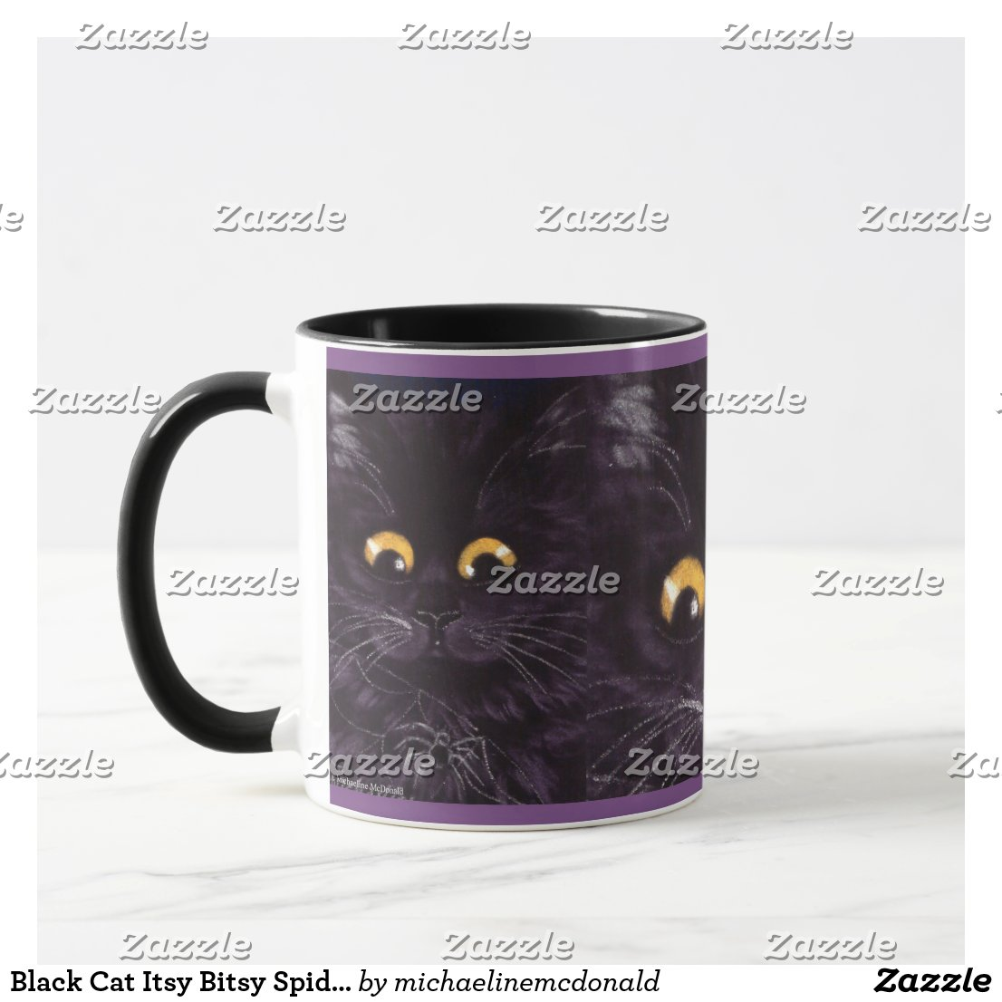 Black Cat Itsy Bitsy Spider Scaredy Cat Mug
