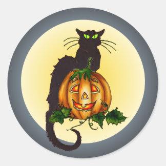 BLACK CAT JACK by SHARON SHARPE Classic Round Sticker