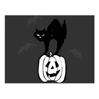 Black Cat Jack-o Bats Postcard