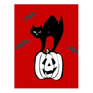 Black Cat Jack-o Bats Red Postcard
