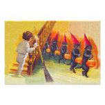 Black Cat Jack O Lanter Pumpkin Broom Art Photo