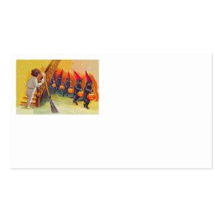 Black Cat Jack O Lanter Pumpkin Broom Business Card