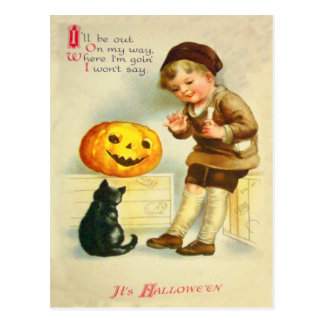Black Cat Jack O Lanter Pumpkin Girl Postcard