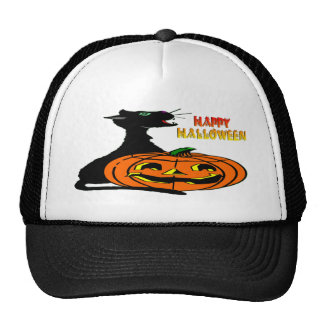 Black Cat & Jack-O-Lantern Mesh Hat