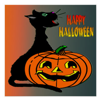 Black Cat & Jack-O-Lantern Poster