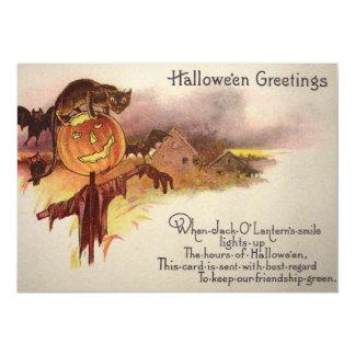 Black Cat Jack O' Lantern Pumpkin Bat Owl 5x7 Paper Invitation Card