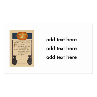Black Cat Jack O' Lantern Pumpkin Business Card