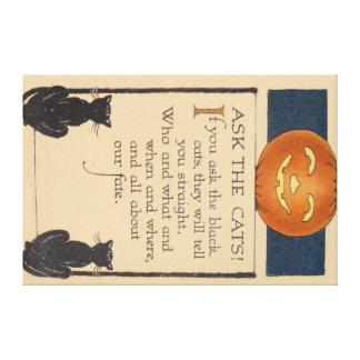 Black Cat Jack O' Lantern Pumpkin Canvas Print