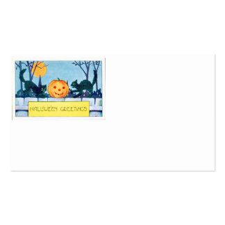 Black Cat Jack O Lantern Pumpkin Full Moon Business Card