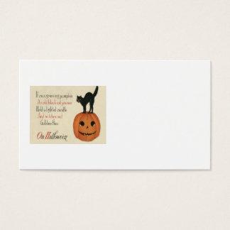 Black Cat Jack O Lantern Pumpkin Orange Business Card