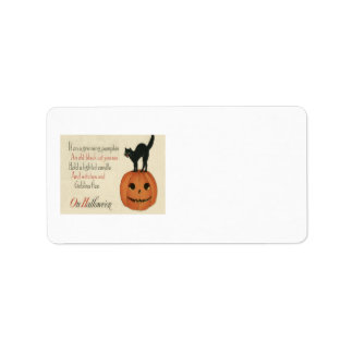 Black Cat Jack O Lantern Pumpkin Orange Label
