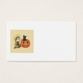 Black Cat Jack O Lantern Pumpkin Pipe Business Card