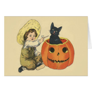 Black Cat Jack O Lantern Pumpkin Pipe Card