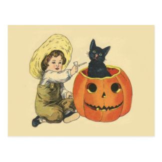 Black Cat Jack O Lantern Pumpkin Pipe Postcard