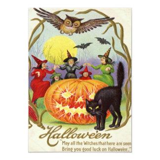 Black Cat Jack O Lantern Pumpkin Witch Full Moon Card