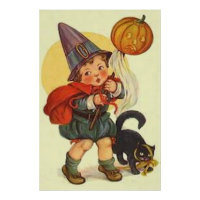 Black Cat Jack O Lantern Pumpkin Witch Moon Print