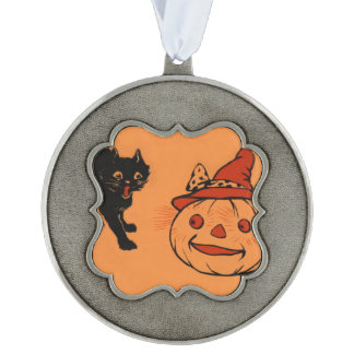 Black Cat Jack O Lantern Pumpkin Witch's Hat Pewter Ornament