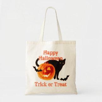 black cat & jack-o-lantern  trick or  treat tote bag