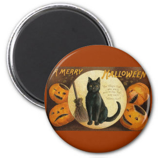 black cat & jackolanterns 2 inch round magnet