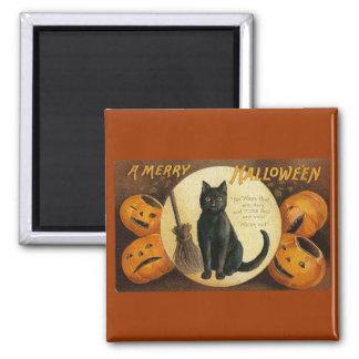 black cat & jackolanterns 2 inch square magnet