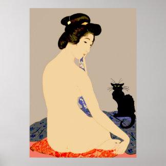 Black Cat Japanese Nude Print