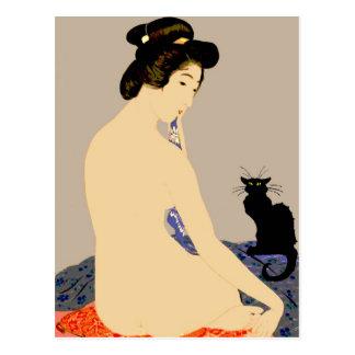 Black Cat Japanese Nude Print Postcard