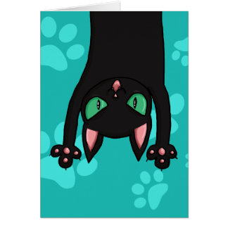 Black Cat jumping out Stationery Note Card