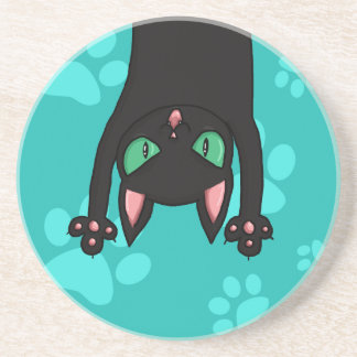 Black Cat jumping out Beverage Coasters