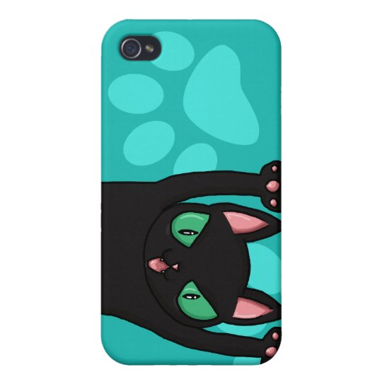 Black Cat jumping out Cover For iPhone 4