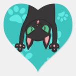 Black Cat jumping out Heart Sticker