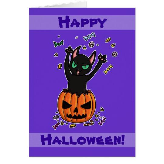 Black cat jumping out of a pumpkin card