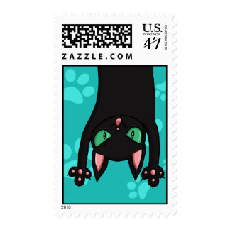Black Cat jumping out Postage