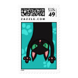 Black Cat jumping out Postage Stamps