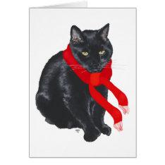 Black Cat Keeping Warm At Christmas Card at Zazzle