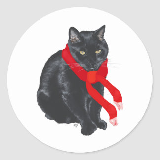 Black Cat Keeping Warm at Christmas Classic Round Sticker